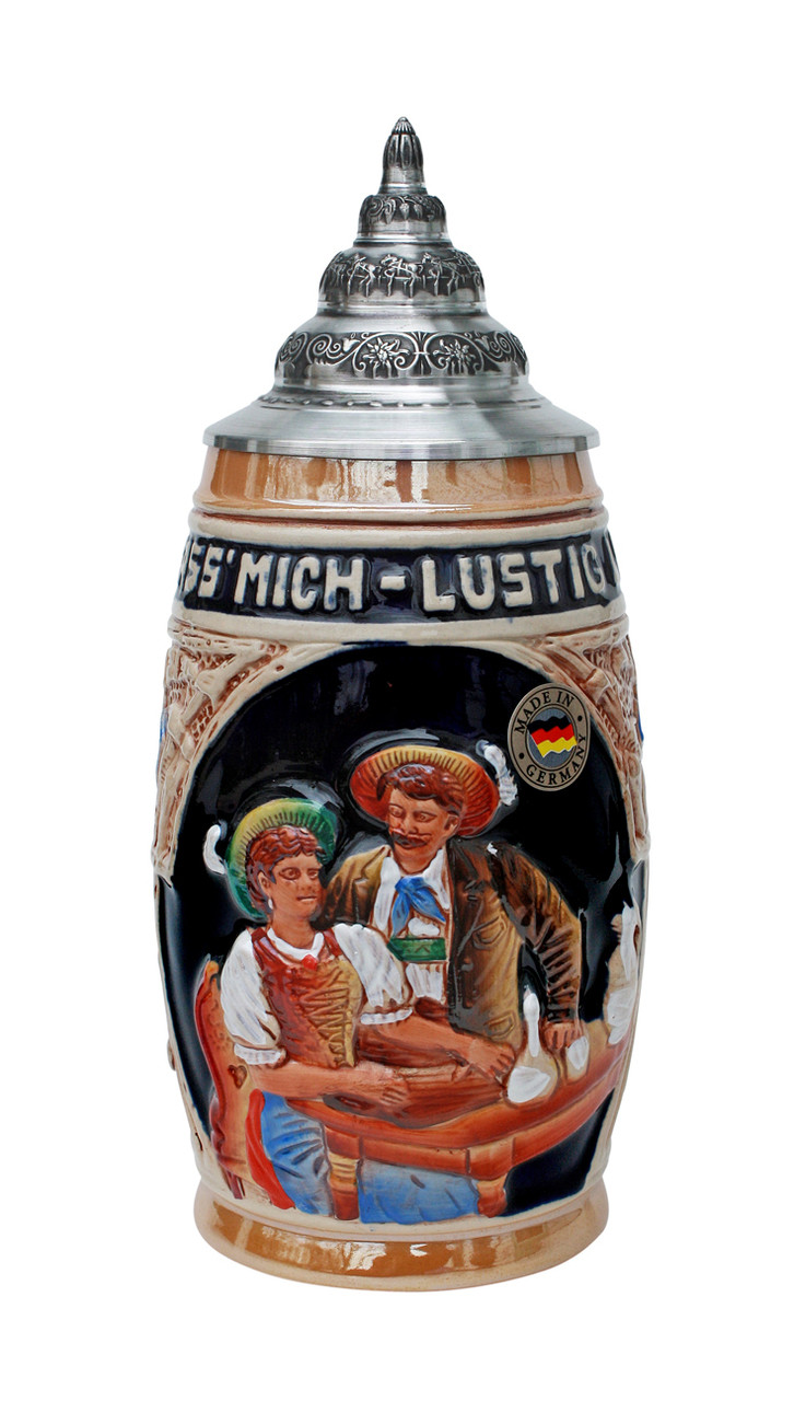Authentic German Ceramic Beer Stein with Pewter Lid