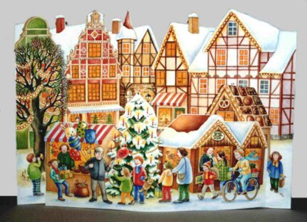 3D Christmas Market German Advent Calendar