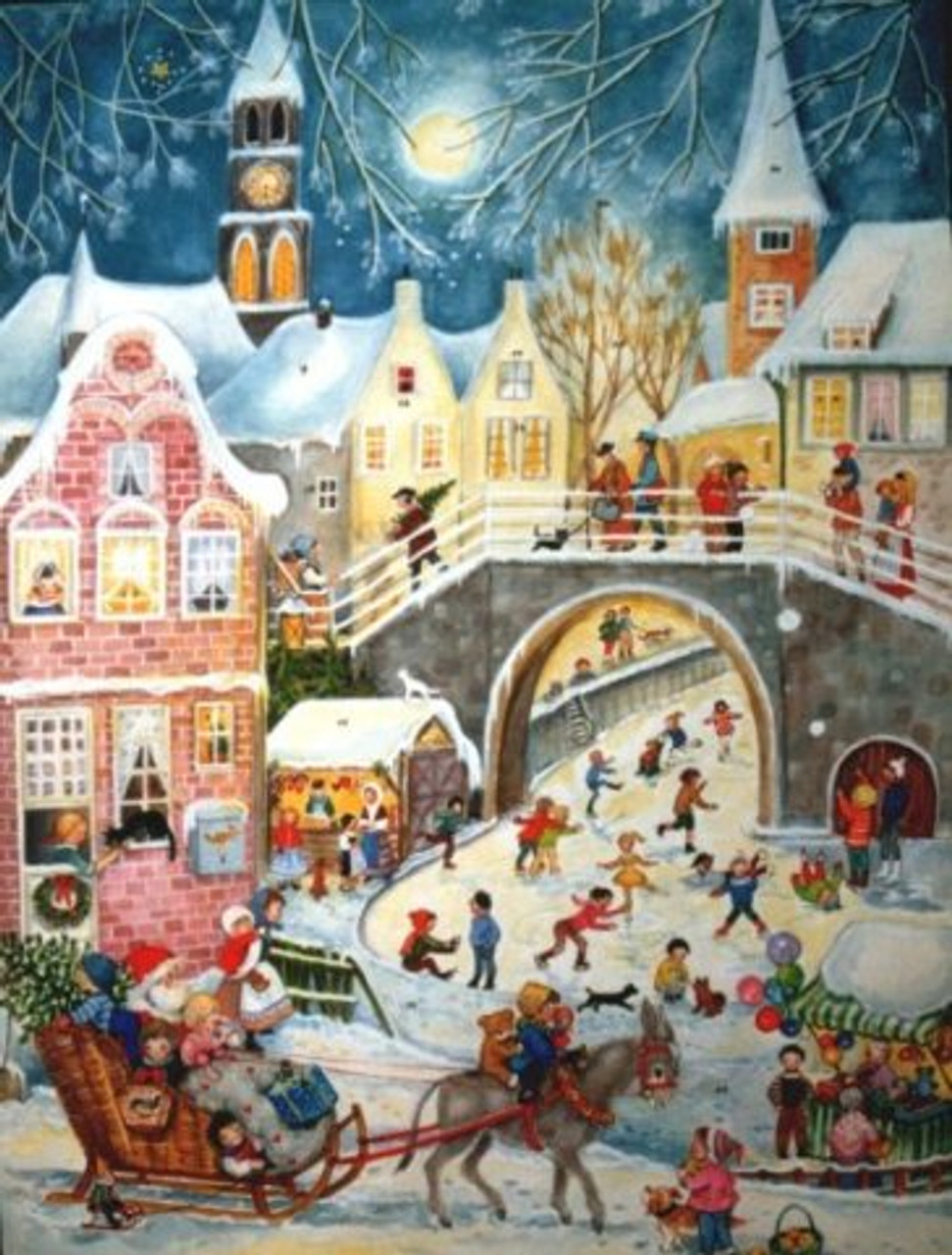 Santa Sleigh Ride German Christmas Advent Calendar