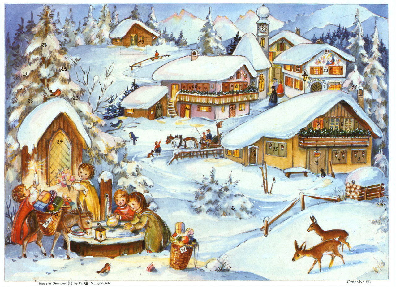 Alpine Village German Advent Calendar
