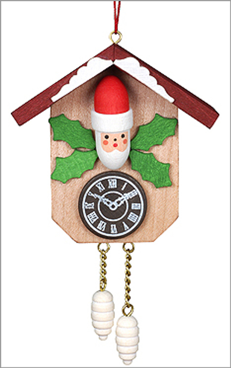 Wooden Santa German Cuckoo Clock Ornament