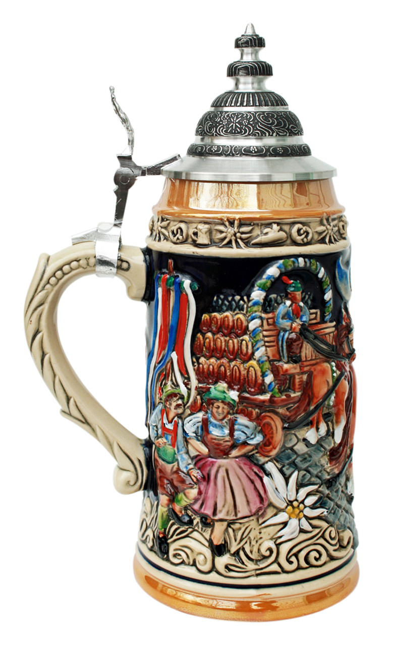 Authentic German Beer Stein with Pewter Lid