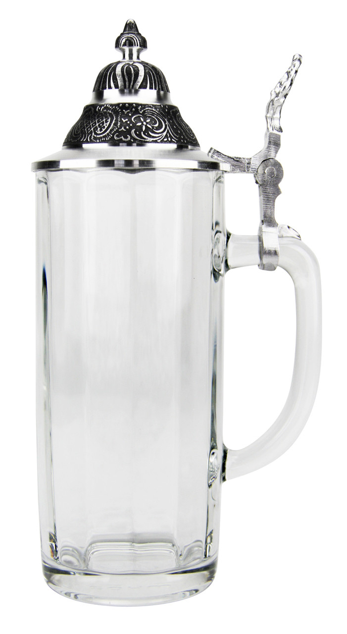 Faceted Glass Beer Stein with Pointed Pewter Lid