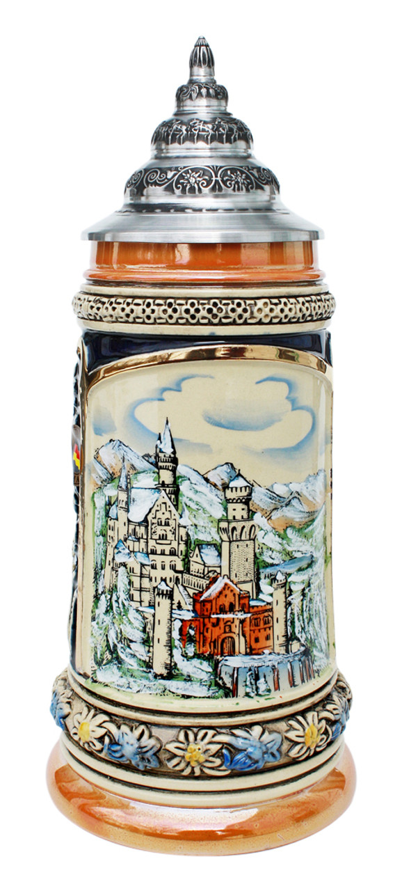 Christmas Beer Stein with Pewter Lid