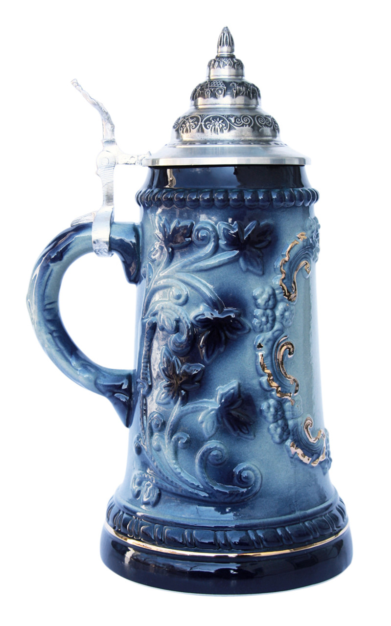 Customize Blue Ceramic Beer Stein with 24K Gold Accents and Pewter Lid