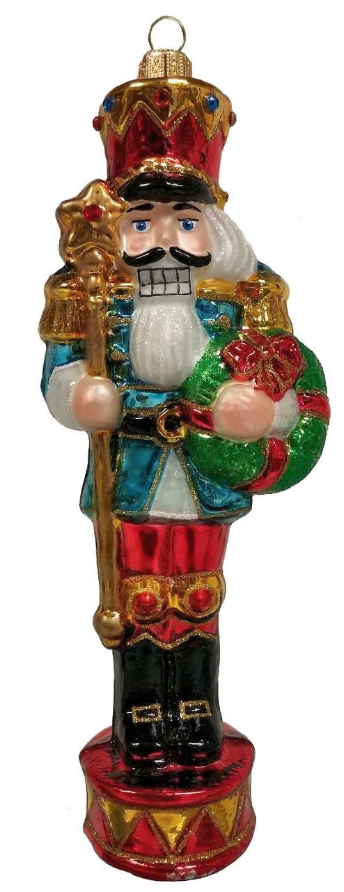 Polish Glass Nutcracker Hand Painted Christmas Ornament