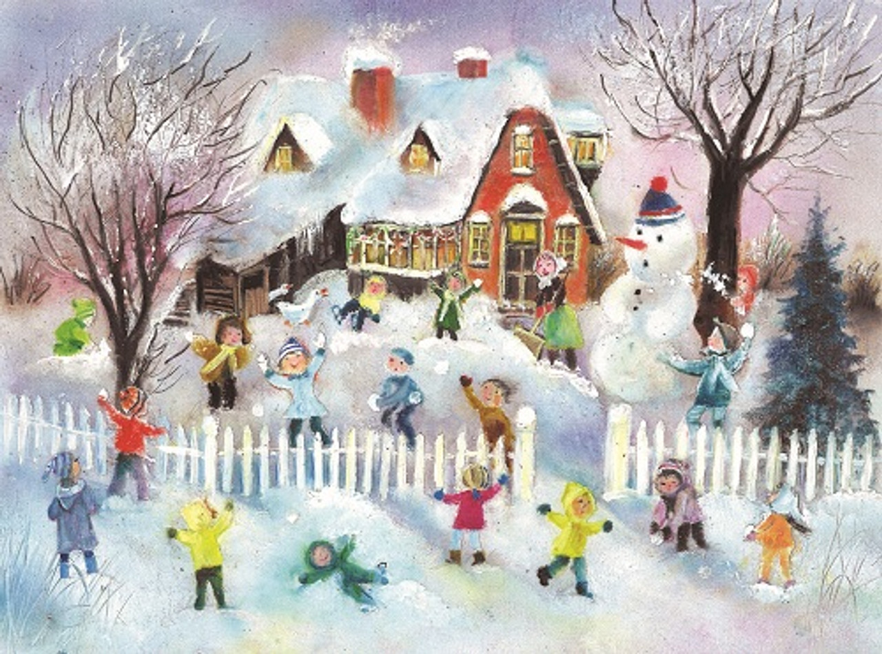 Children's  Traditional German Christmas Advent Calendar Snowball Fight