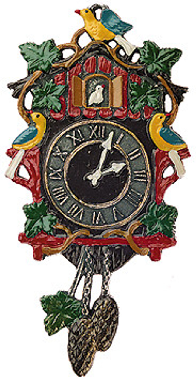 Traditional German Pewter Cuckoo Clock Christmas Ornament