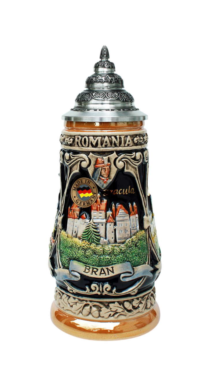 .25 Liter Beer Stein with Romanian Bran Castle with 24K Gold Accents