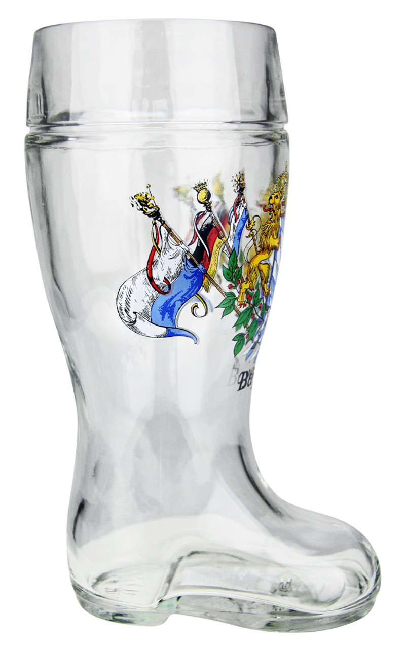 Side View of Traditional German Glass Beer Boot