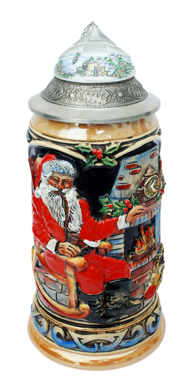 Traditional German Beer Stein Depicting Santa Clause by the Fire