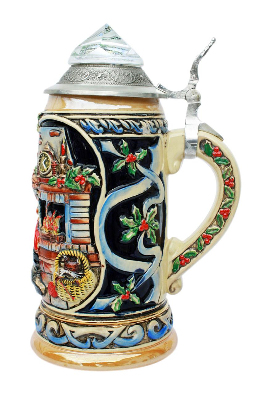 Santa Xmas Beer Stein with Lid