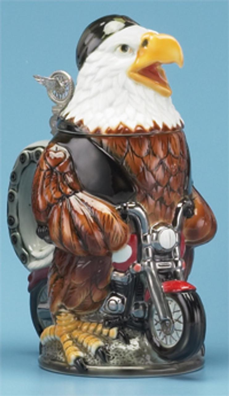 Biker Eagle Porcelain Motorcycle Beer Stein