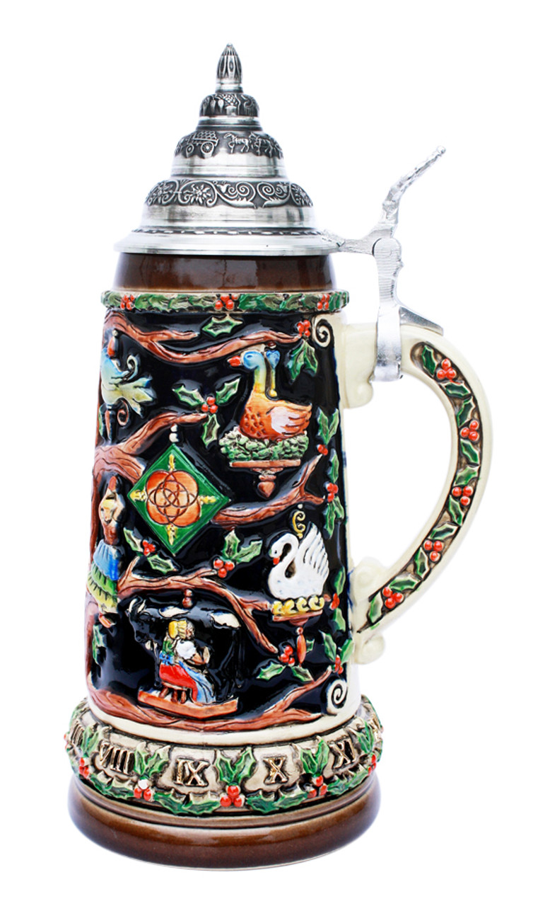 German Christmas Beer Stein with Lid for Sale