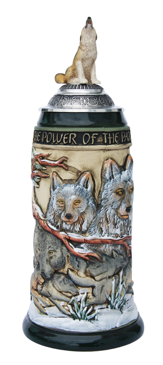 Power of the Pack Wolf Beer Stein with Wolf Lid