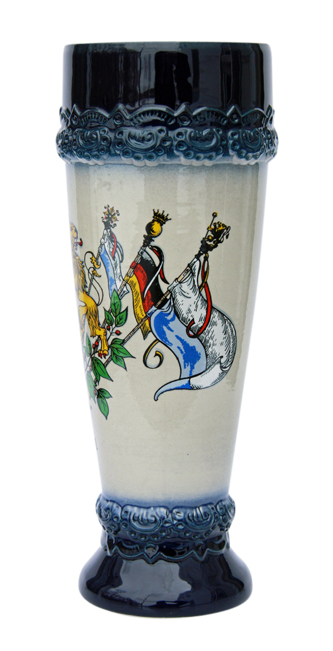 Wheat Beer Cup with Blue Glaze on Rim with Bavarian Lion Crest
