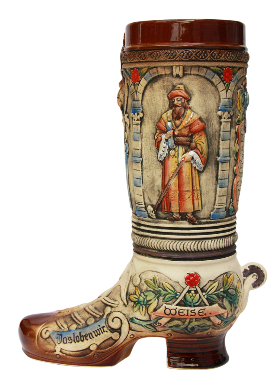 Ornate 2 L Ceramic Beer Boot with Stylized Shoe Laces & 3D Spur on Heel