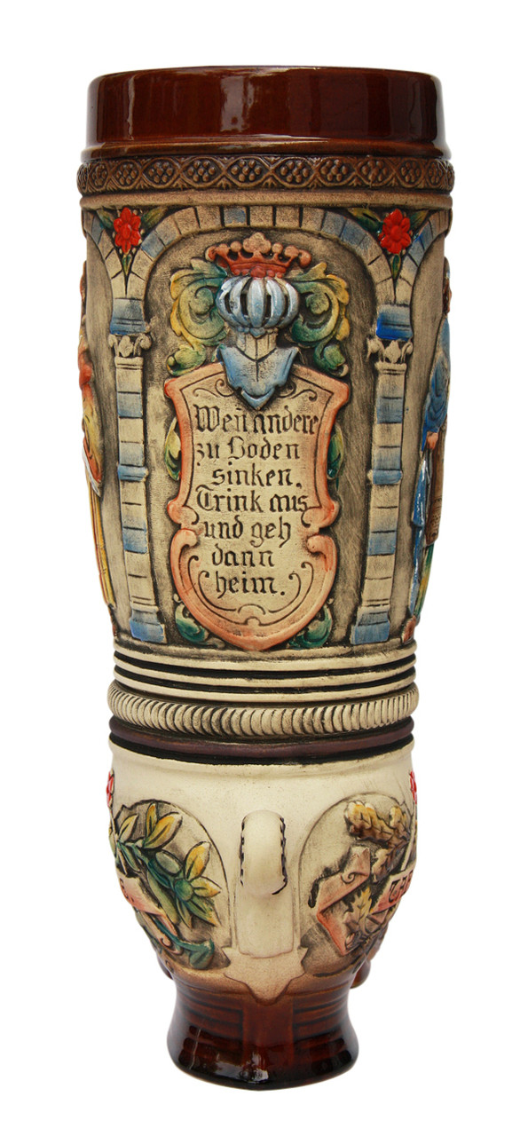 Ceramic German Beer Boot with Coat of Arms Relief on Front & Back