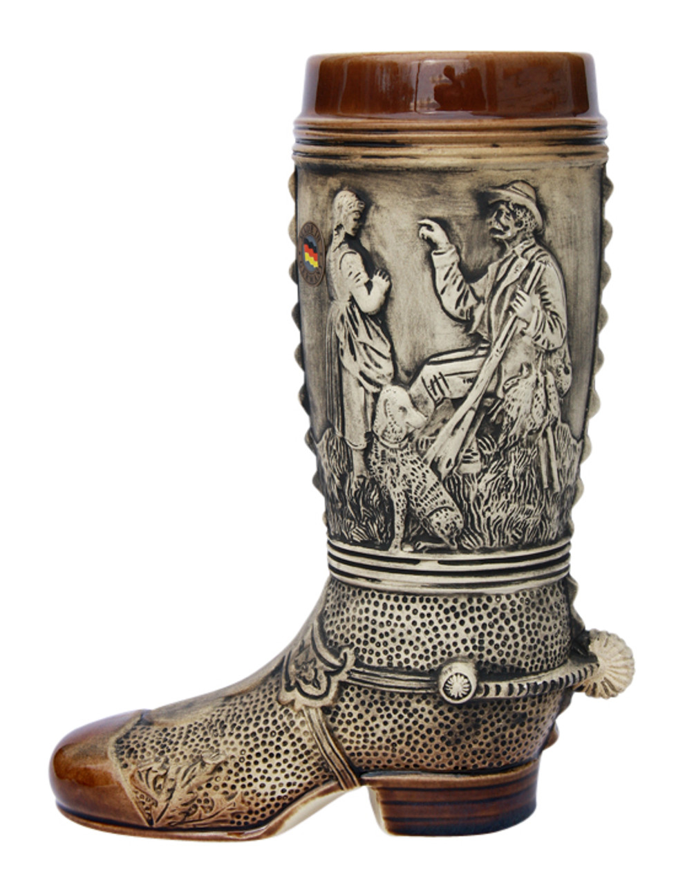 Ceramic Beer Boot with Rustic Finish and 3D Spur on the Heel