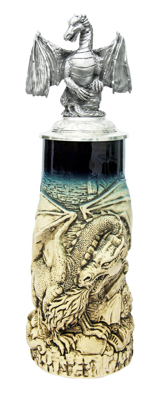 Dragon Beer Stein Rustic with Dragon Lid