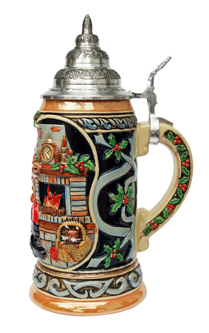 German Christmas Ceramic Beer Stein for Sale