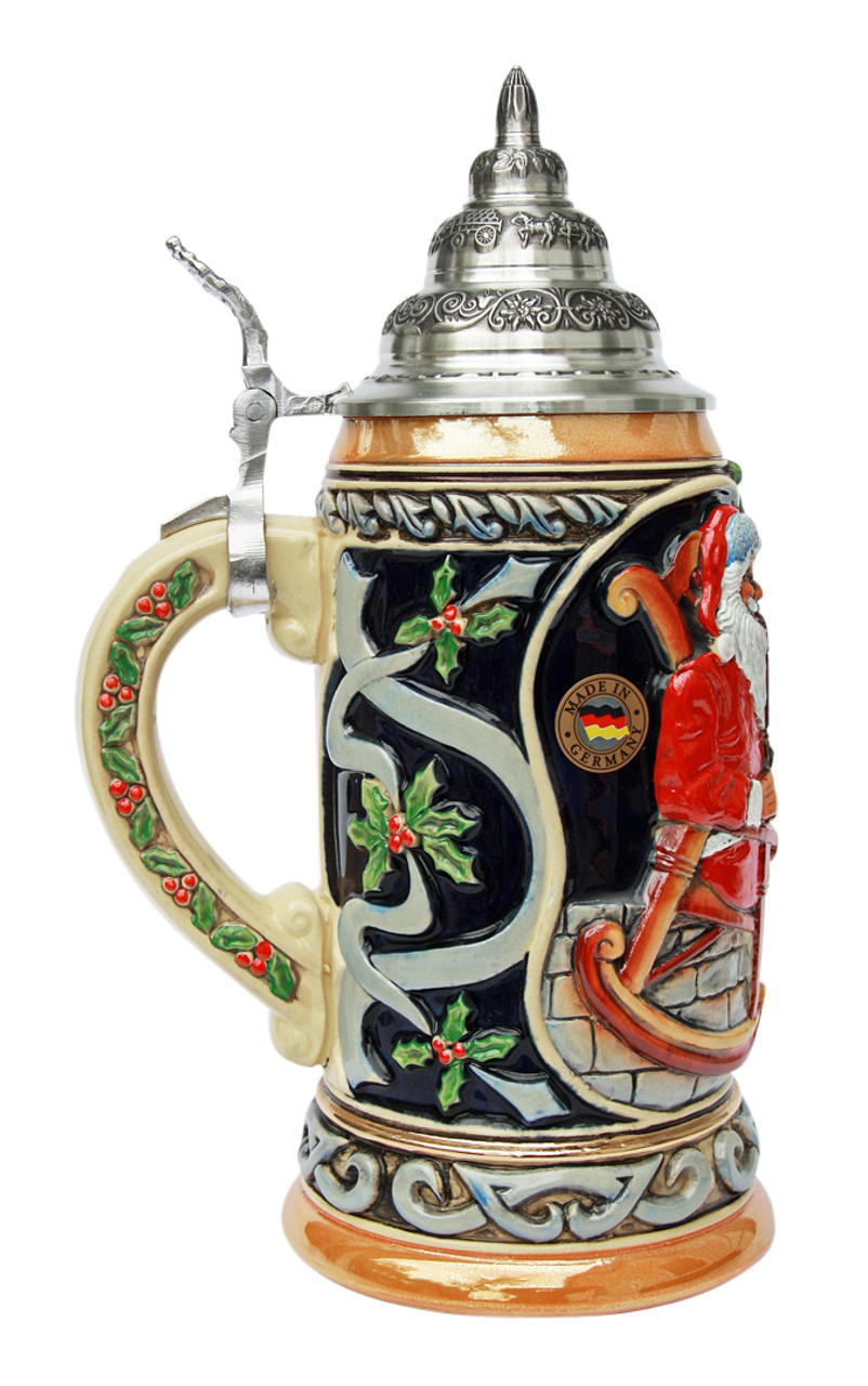 Christmas Beer Stein Made of Cobalt Ceramic