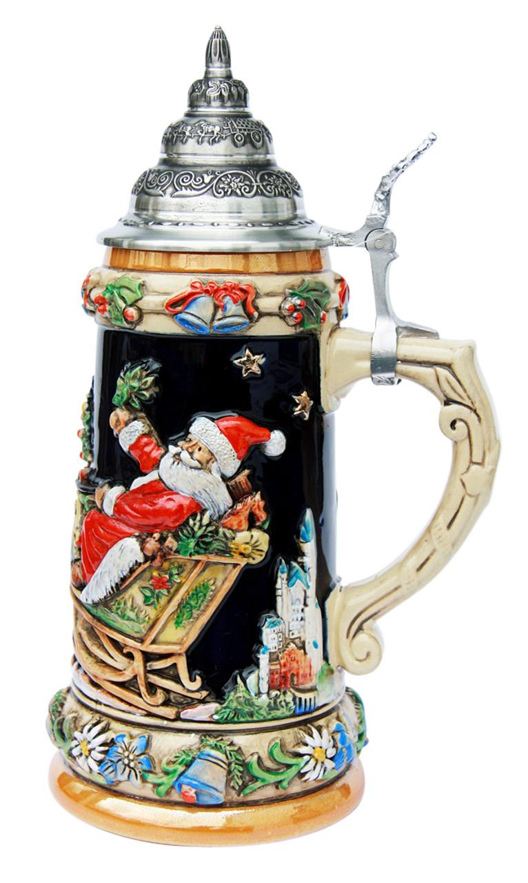 German Ceramic Beer Drinking Stein with Lid