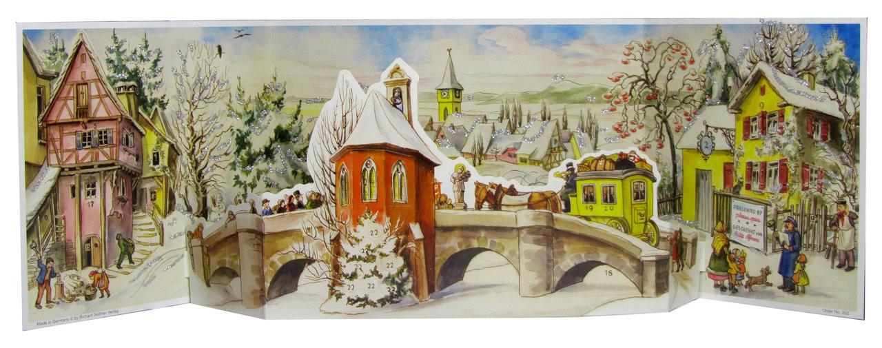Winter Village 1960s German Advent Calendar Reproduction