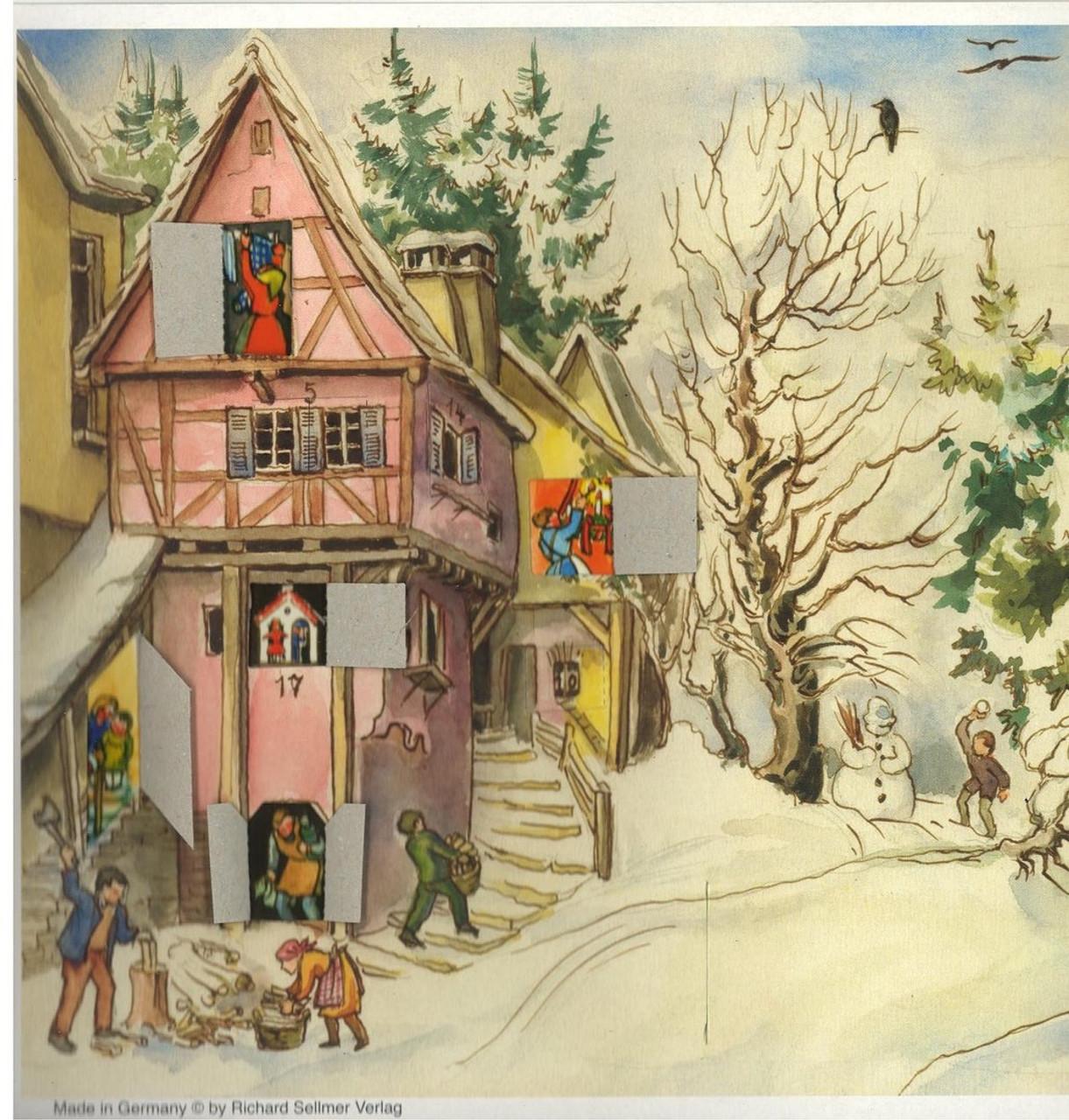 German Advent Calendar Shown with Windows Open
