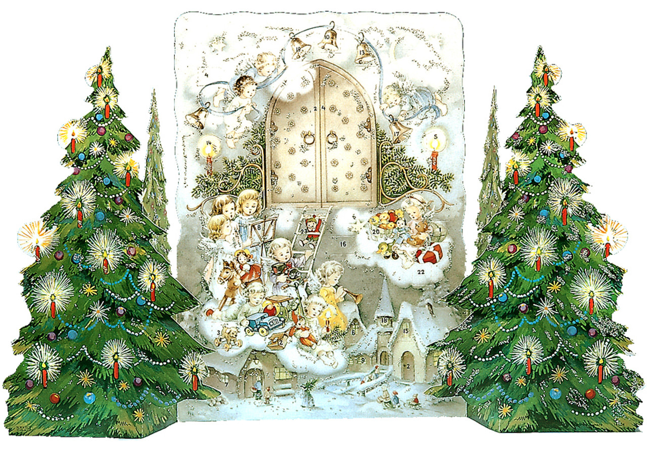 Angels with Christmas Trees 3D German Advent Calendar for Kids & Children