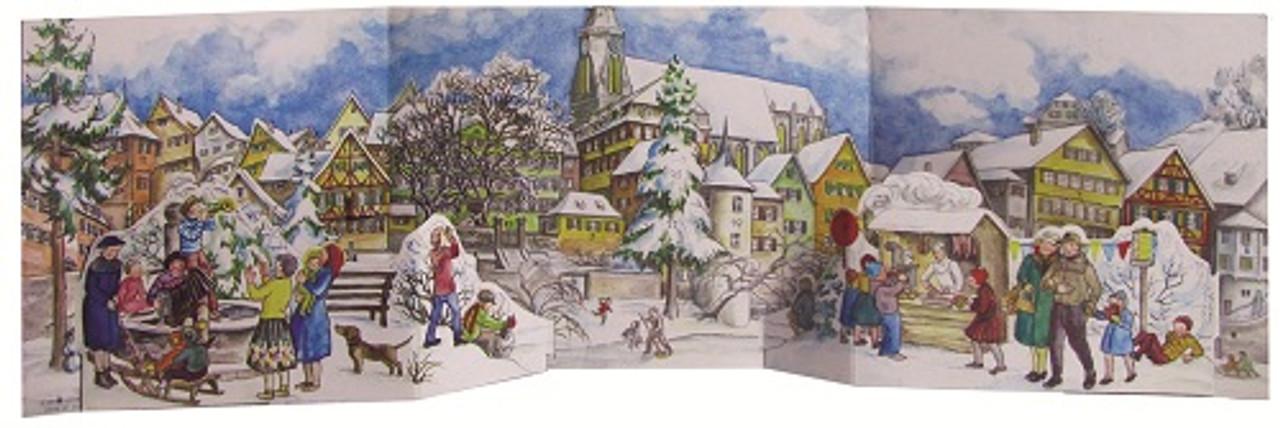 Winter Village Panorama 3D German Advent Calendar