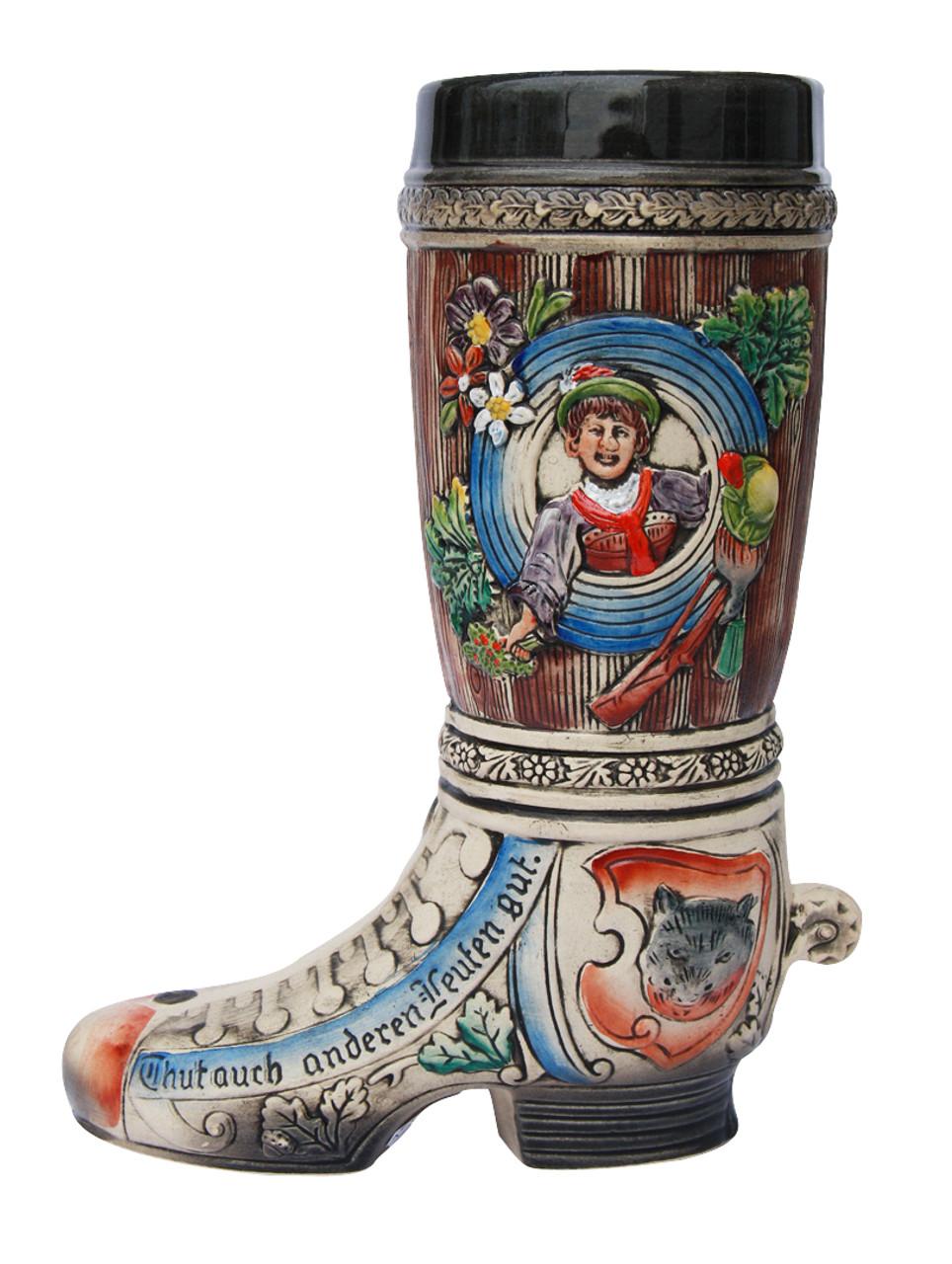 Ceramic Beer Boot Depicts Hunting Motifs & 3D Spur on Heel