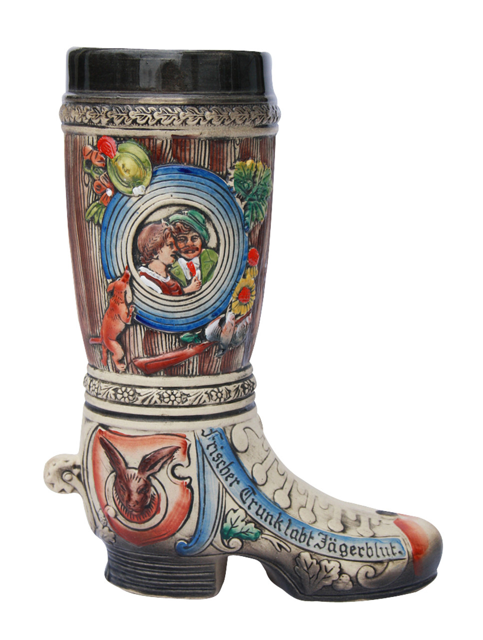 1 Liter Ceramic Beer Boot with Hunting Theme