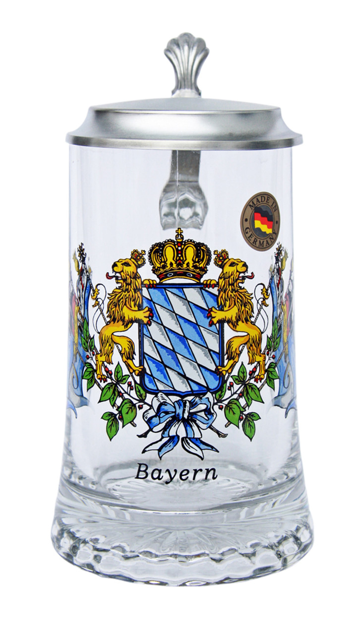 Collectible German Glass Beer Stein with Pewter Lid