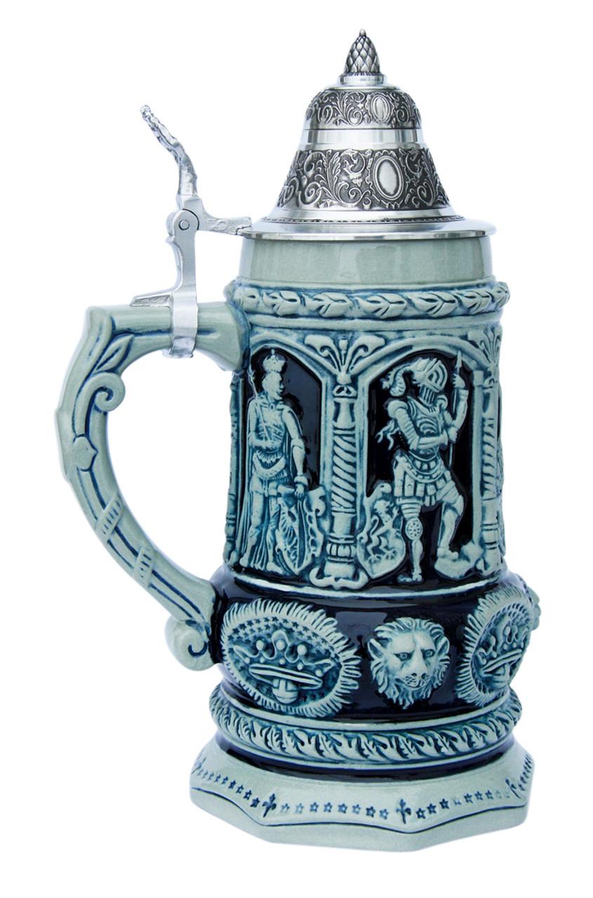 Medieval Holy Roman Emperor Beer Stein Cobalt