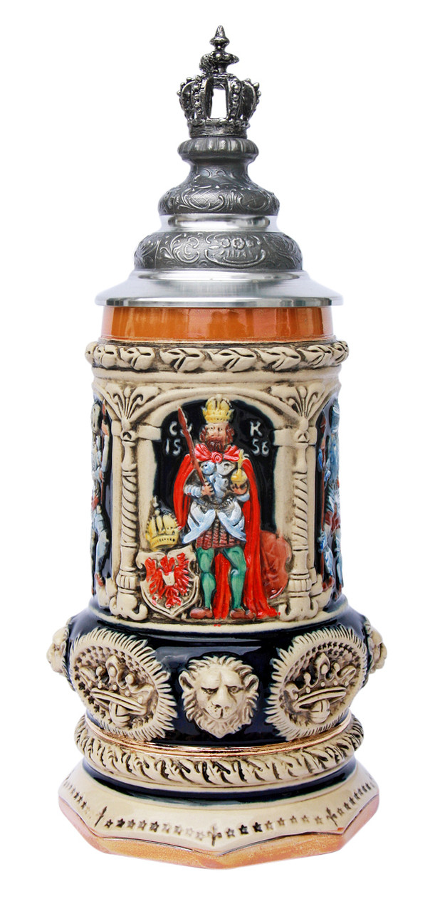 Medieval Holy Roman Emperor Beer Stein with Crown Lid
