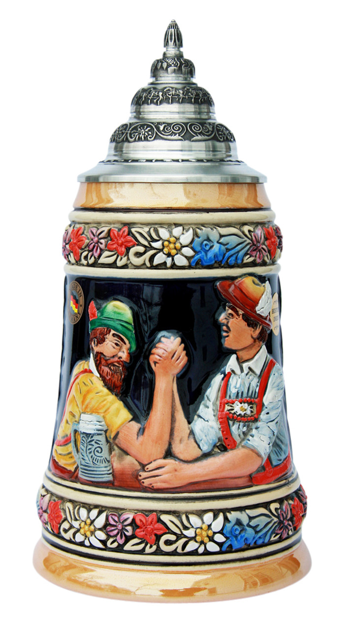 Authentic Bavarian German Stein with Pewter Lid
