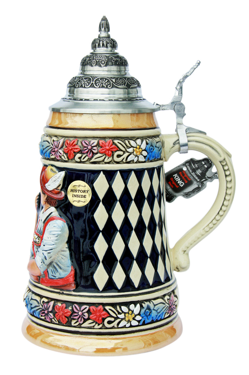 Ceramic Beer Stein Depicting Two Muscly Germans Arm Wrestling