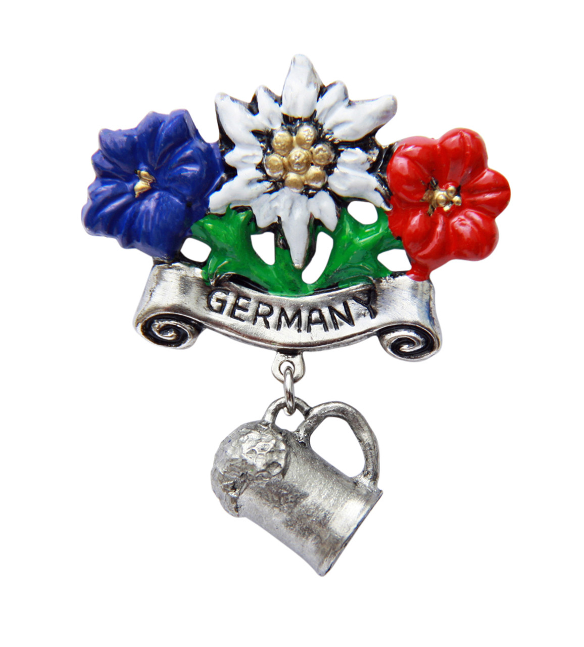 Germany Alpine Flowers with Beer Mug German Hat Pin