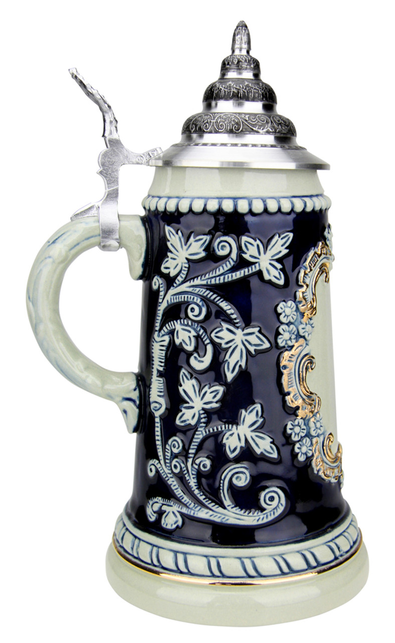 Ornate Cobalt Blue Beer Stein with Pewter Relief Lid