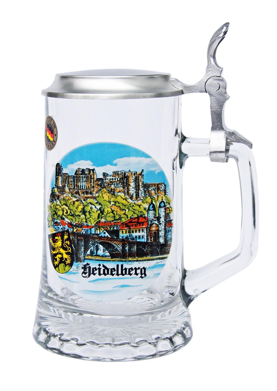 Authentic German Beer Stein with Heidelberg Painting