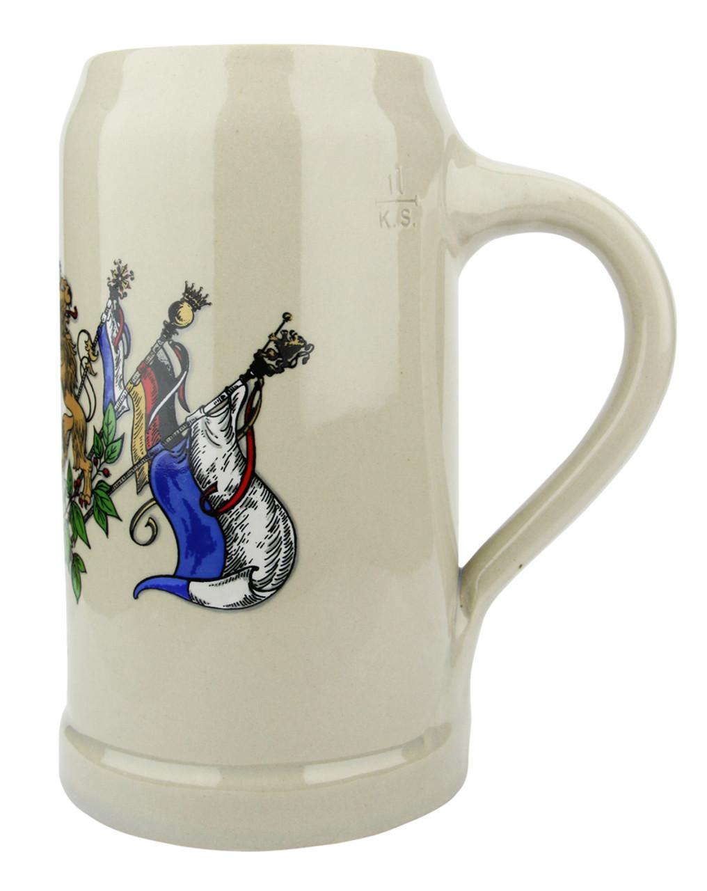 Bavaria Crest Stoneware Beer Mug 1 Liter