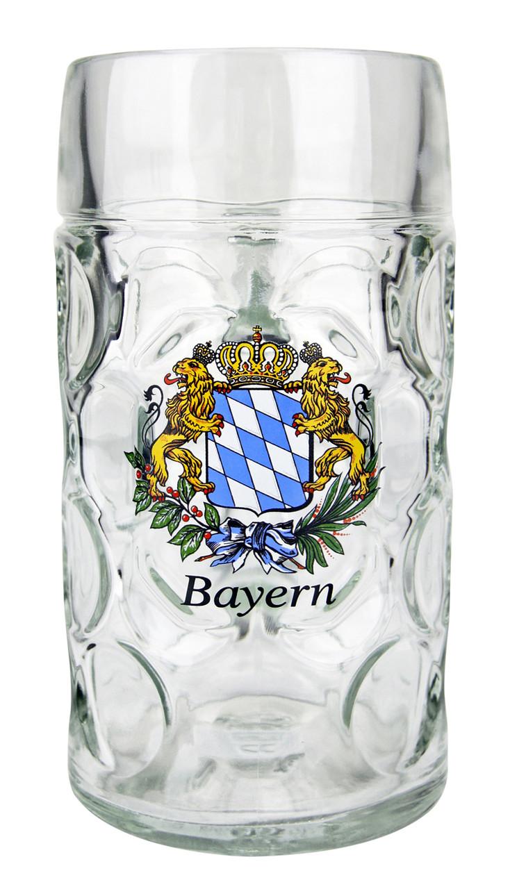 Bavaria Crest Dimpled Oktoberfest Glass Beer Mug 1 Liter