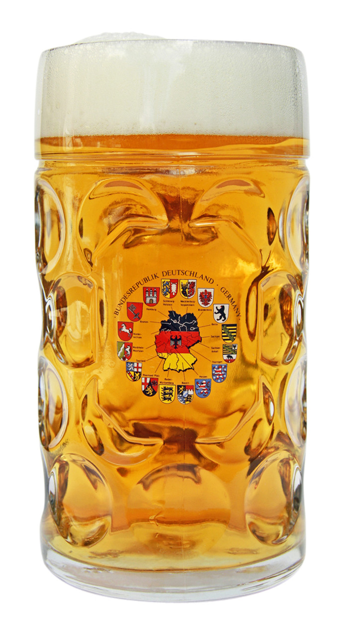 Deutschland Crest Map Dimpled Oktoberfest Glass Beer Mug 1 Liter
