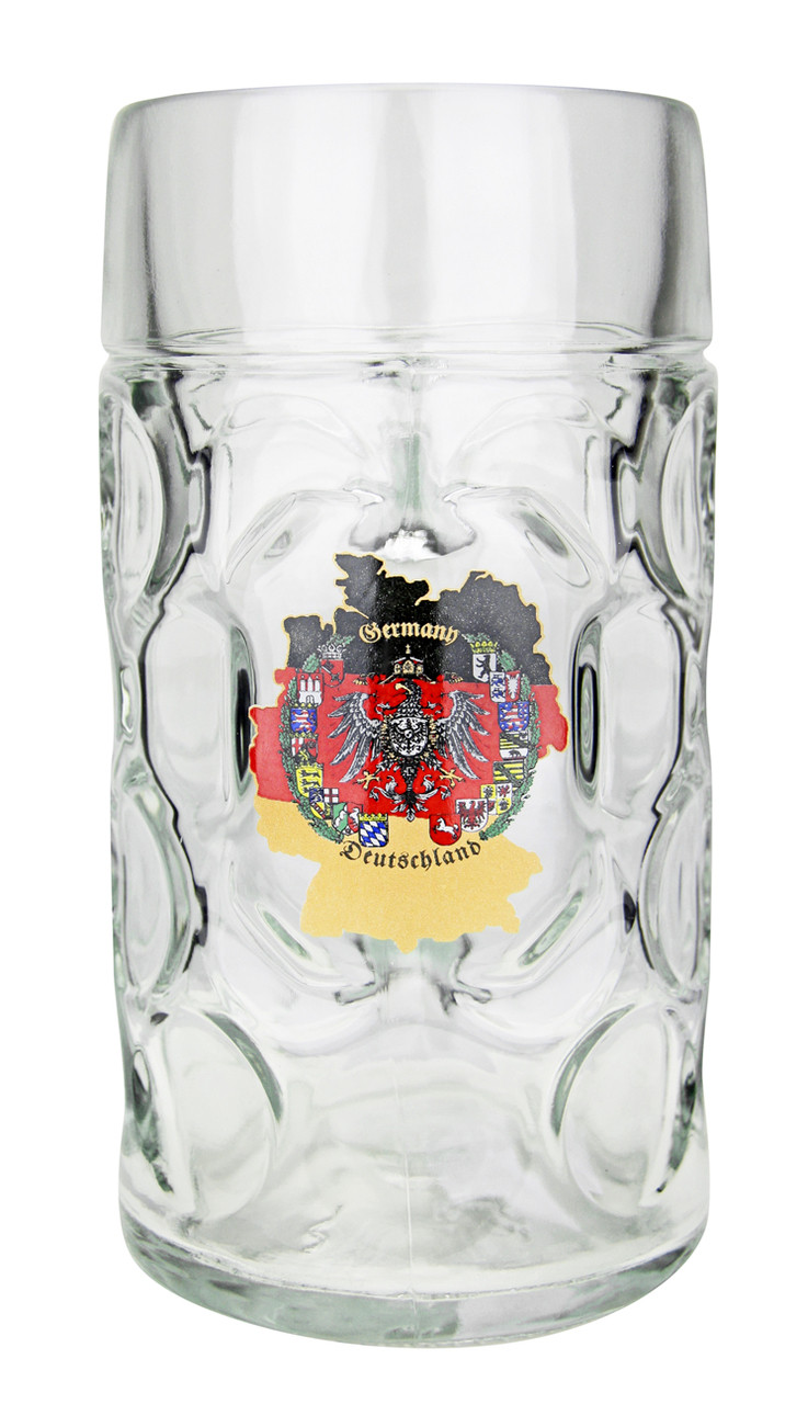 1 Liter German Beer Mug with Traditional German Map
