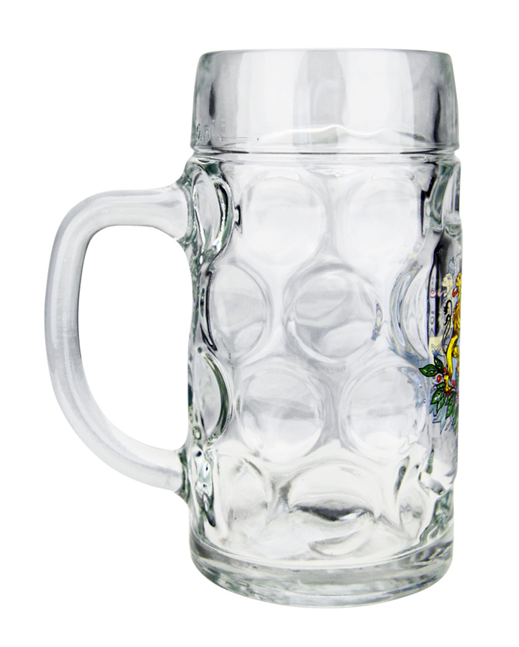 Traditional German Glass Beer Mug with Handle