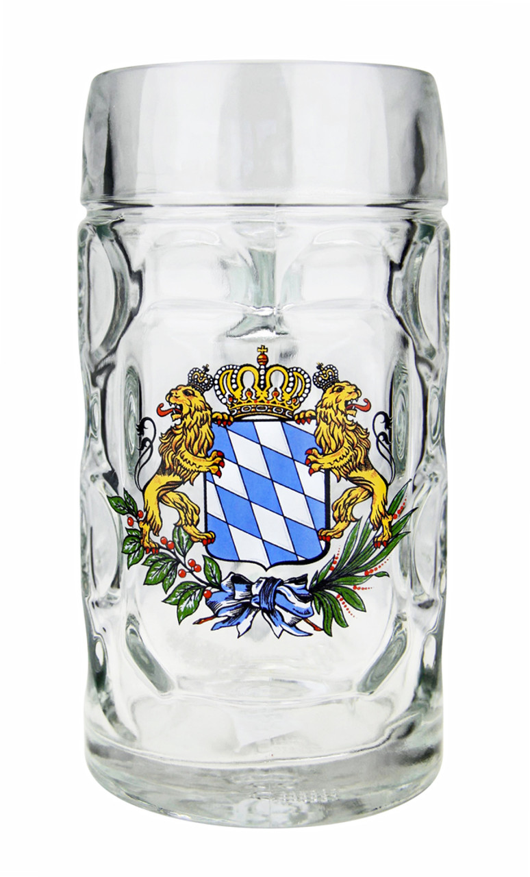 Dimpled Bavaria Lion Crest Oktoberfest Glass Beer Mug