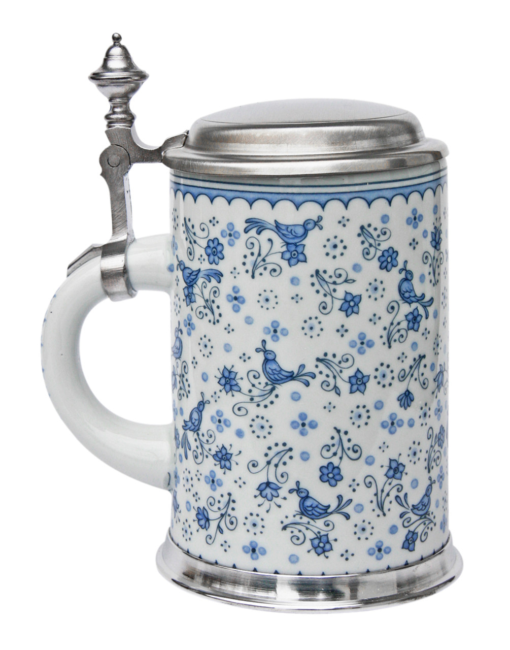 Birds and Flowers Porcelain Beer Stein with Pewter Footed Base