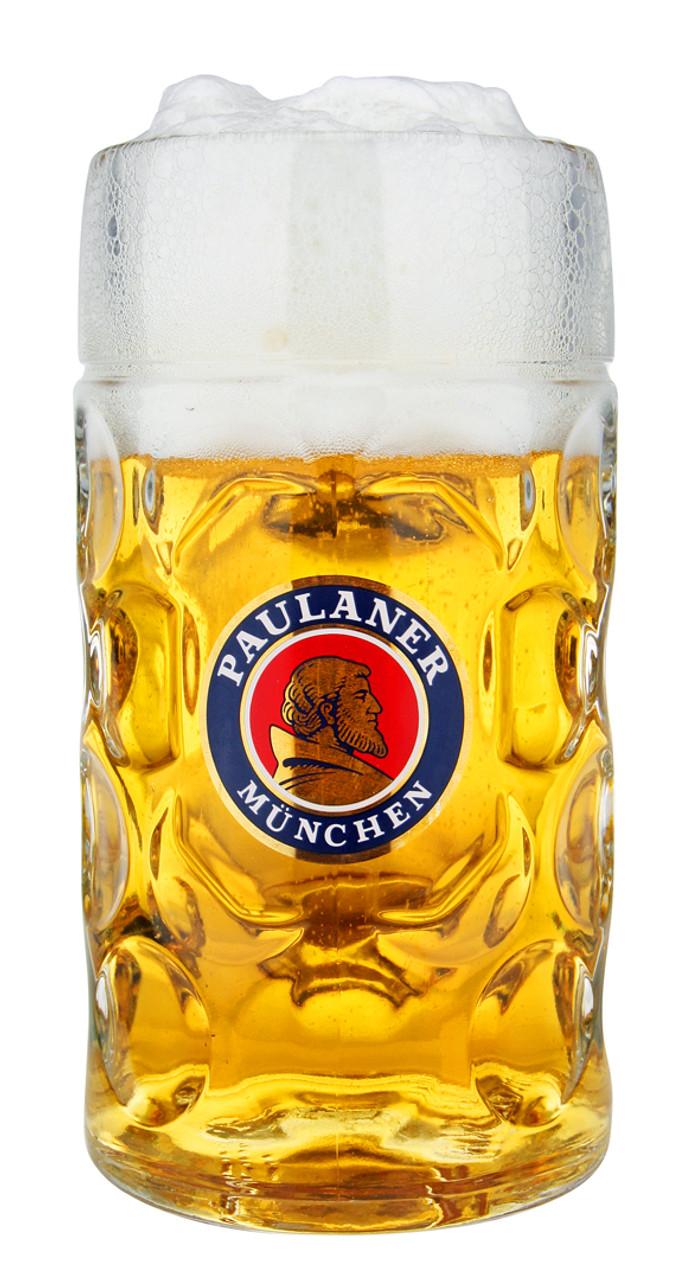 Personalized Oktoberfest Glass Beer Mug with Paulaner Logo