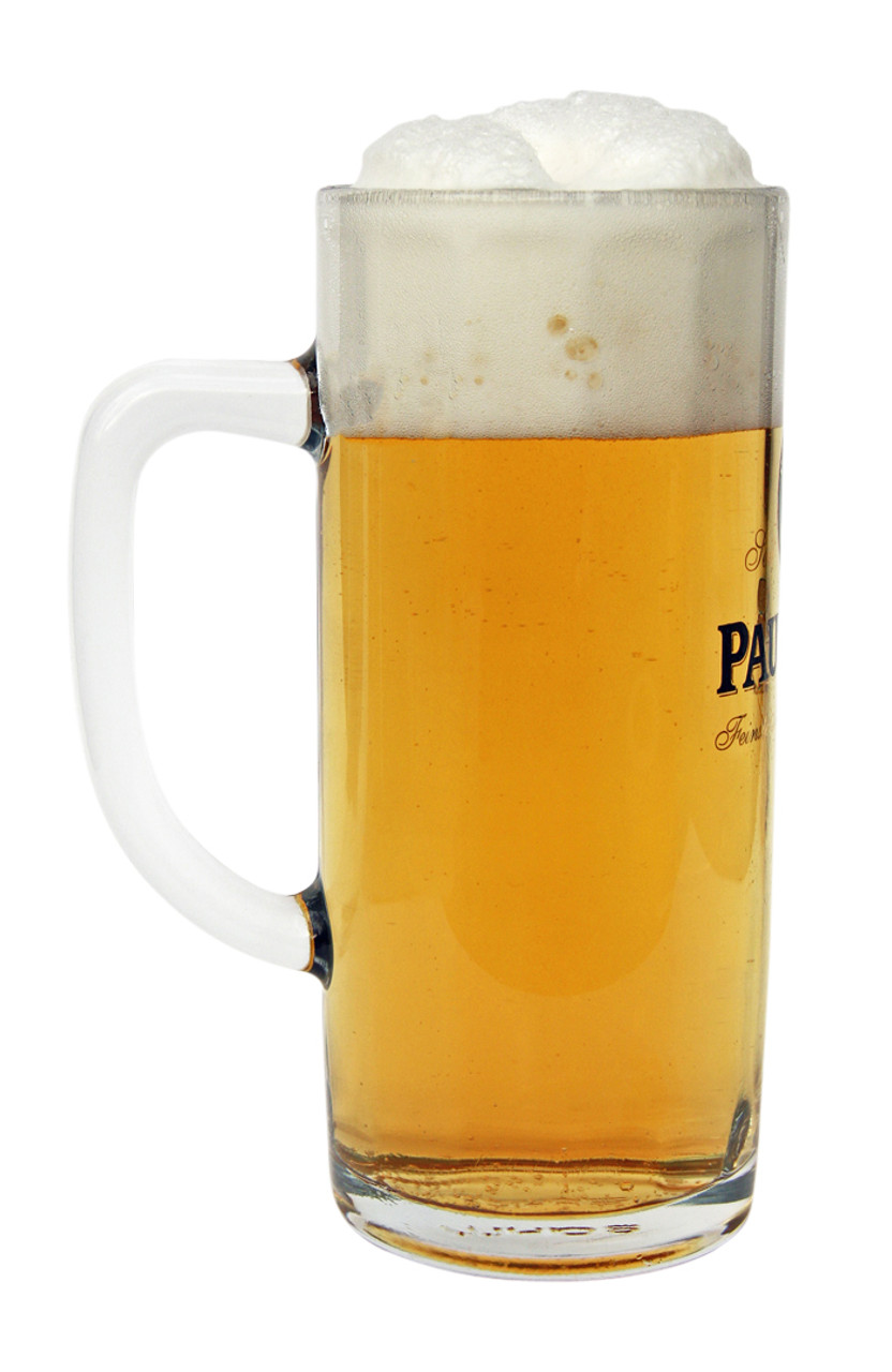 Side View of Personalized 0.5 Liter Paulaner Faceted Beer Mug